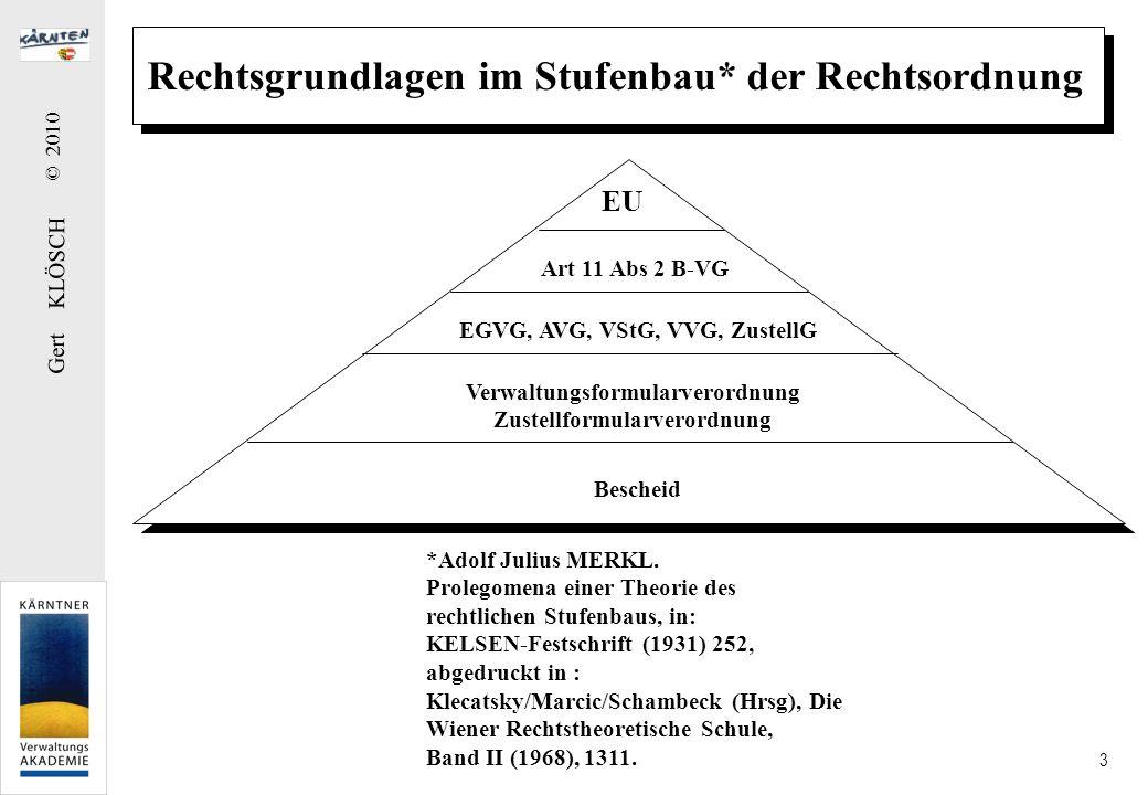 Gert KLÖSCH © 2010 3 Rechtsgrundlagen im Stufenbau* der Rechtsordnung Art 11 Abs 2 B-VG EGVG, AVG, VStG, VVG, ZustellG Verwaltungsformularverordnung Z