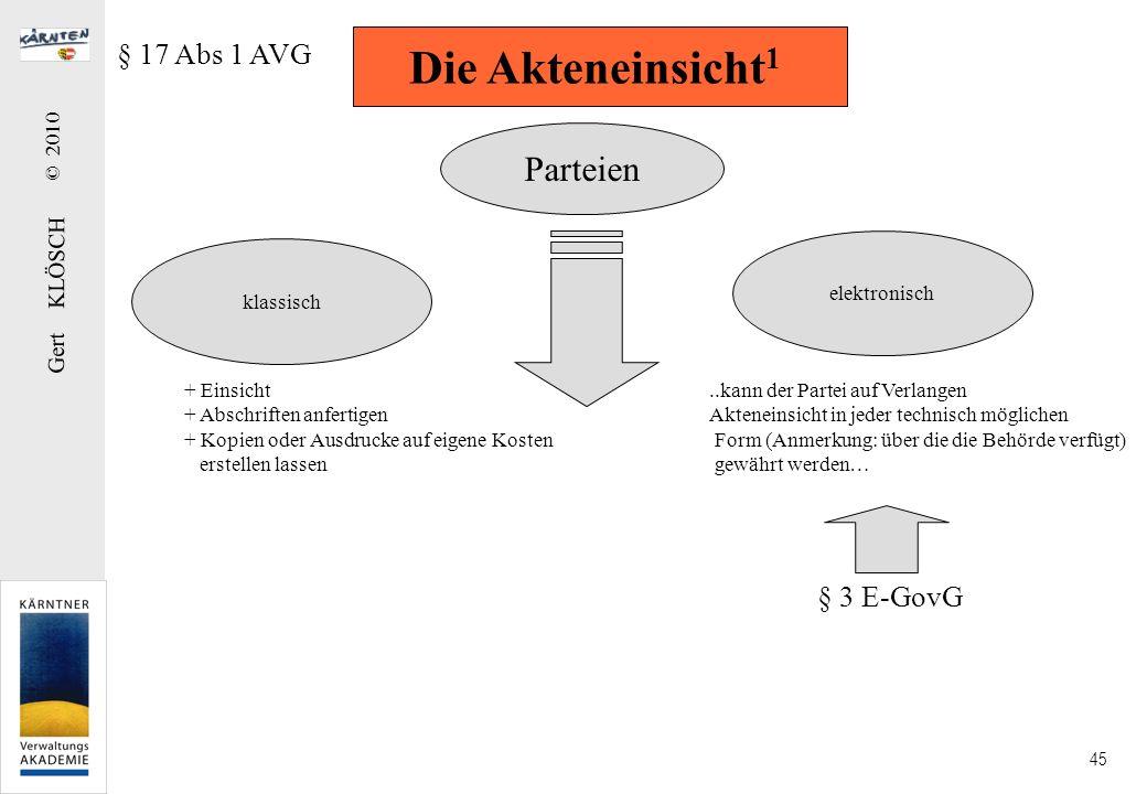 Gert KLÖSCH © 2010 45 Die Akteneinsicht 1 § 17 Abs 1 AVG Parteien klassisch elektronisch + Einsicht + Abschriften anfertigen + Kopien oder Ausdrucke a