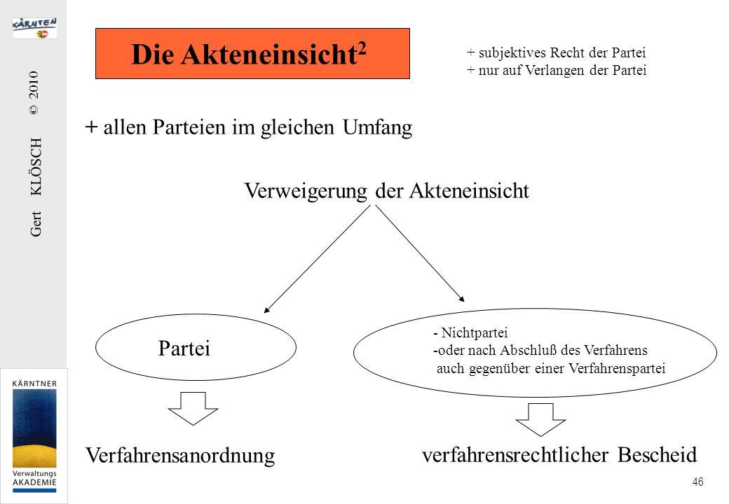 Gert KLÖSCH © 2010 46 + allen Parteien im gleichen Umfang Verweigerung der Akteneinsicht Partei - Nichtpartei -oder nach Abschluß des Verfahrens auch