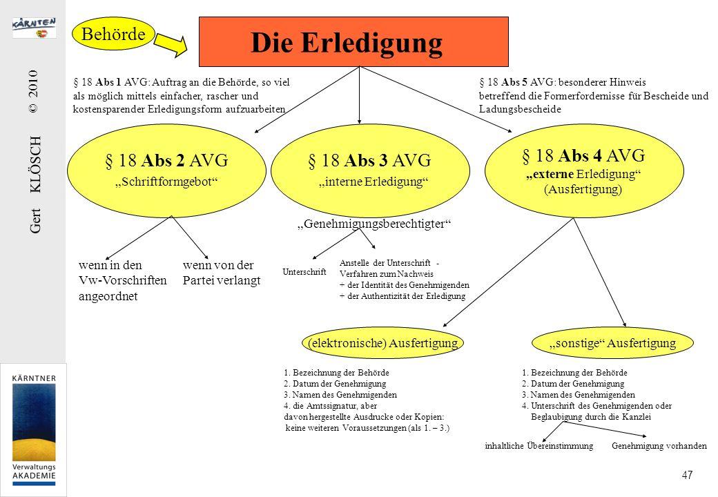 Gert KLÖSCH © 2010 47 Die Erledigung § 18 Abs 1 AVG: Auftrag an die Behörde, so viel als möglich mittels einfacher, rascher und kostensparender Erledi