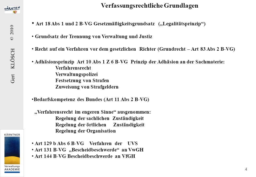 Gert KLÖSCH © 2010 4 Art 18 Abs 1 und 2 B-VG Gesetzmäßigkeitsgrundsatz (Legalitätsprinzip) Grundsatz der Trennung von Verwaltung und Justiz Recht auf