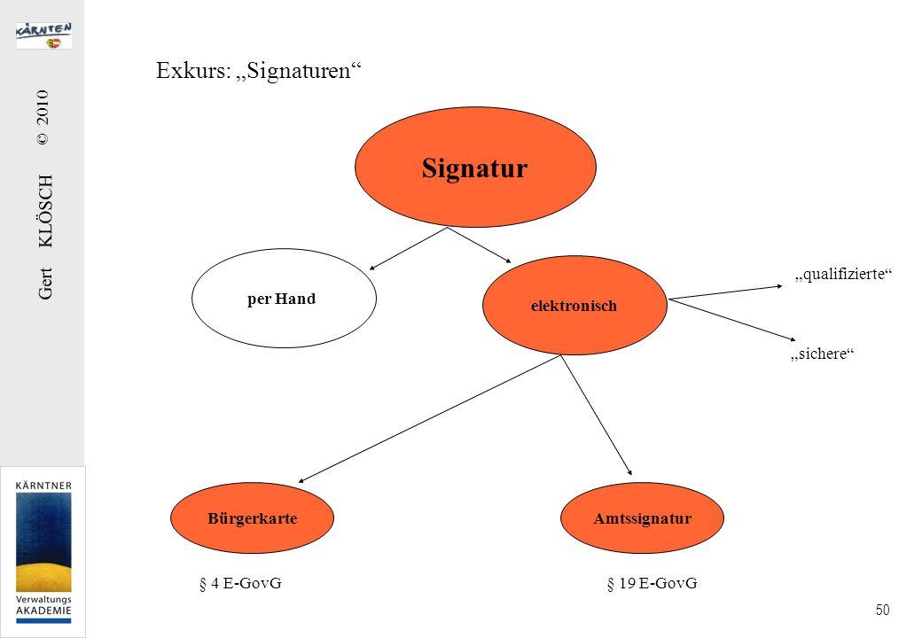 Gert KLÖSCH © 2010 50 Exkurs: Signaturen Signatur per Hand elektronisch qualifizierte sichere BürgerkarteAmtssignatur § 4 E-GovG § 19 E-GovG
