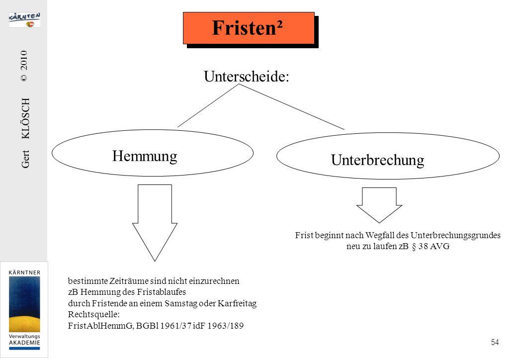 Gert KLÖSCH © 2010 54 Fristen² Hemmung Unterbrechung bestimmte Zeiträume sind nicht einzurechnen zB Hemmung des Fristablaufes durch Fristende an einem