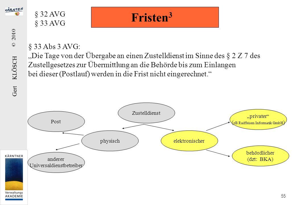 Gert KLÖSCH © 2010 55 Fristen 3 § 32 AVG § 33 AVG § 33 Abs 3 AVG: Die Tage von der Übergabe an einen Zustelldienst im Sinne des § 2 Z 7 des Zustellges
