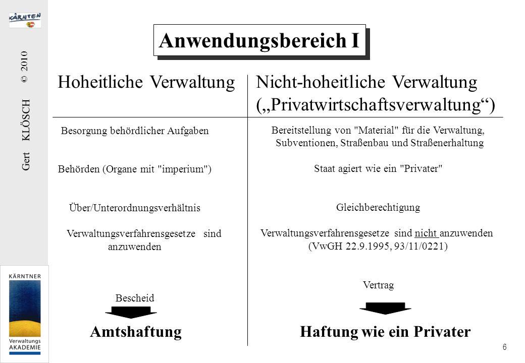 Gert KLÖSCH © 2010 6 Anwendungsbereich I Hoheitliche VerwaltungNicht-hoheitliche Verwaltung (Privatwirtschaftsverwaltung) Besorgung behördlicher Aufga