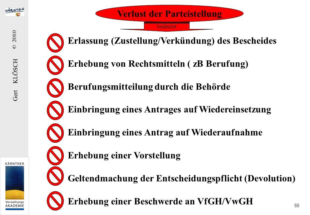 Gert KLÖSCH © 2010 69 Verlust der Parteistellung Erlassung (Zustellung/Verkündung) des Bescheides Erhebung von Rechtsmitteln ( zB Berufung) Berufungsm