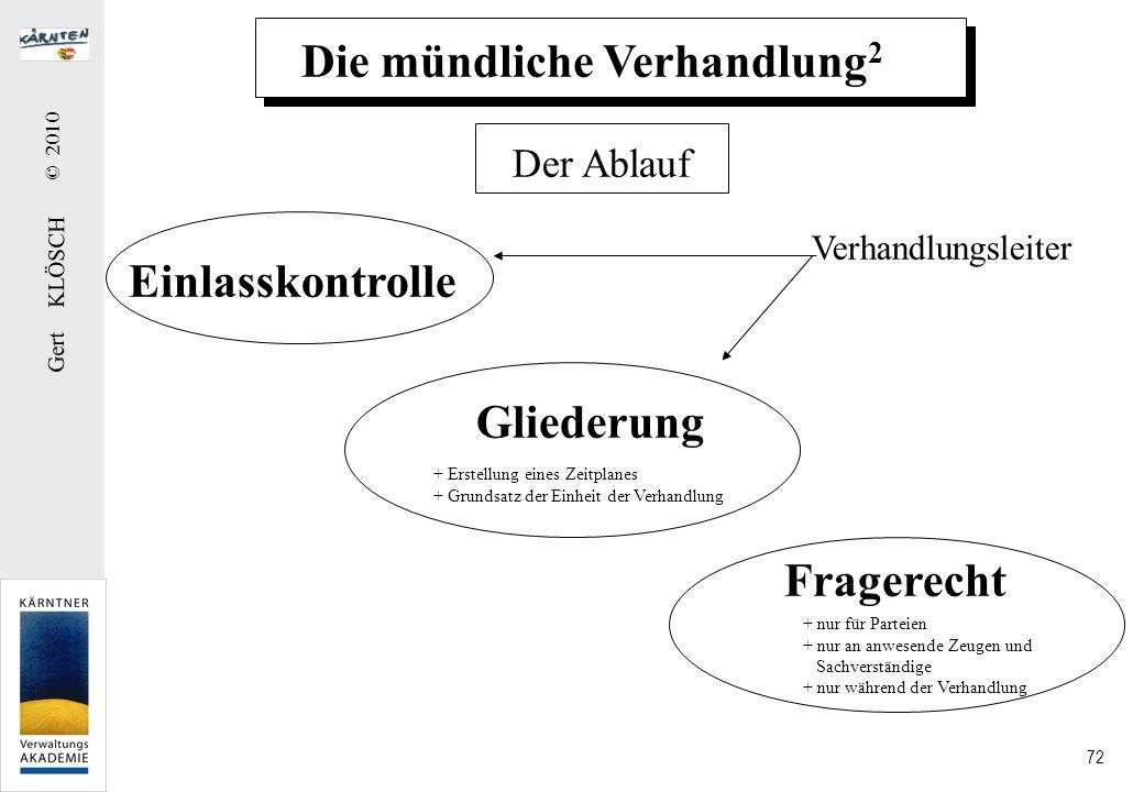 Gert KLÖSCH © 2010 72 Die mündliche Verhandlung 2 Der Ablauf Einlasskontrolle Gliederung Fragerecht Verhandlungsleiter + nur für Parteien + nur an anw