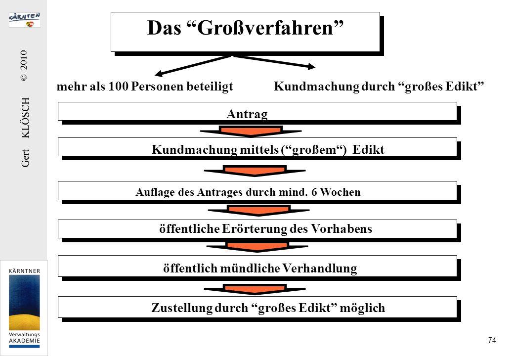 Gert KLÖSCH © 2010 74 Das Großverfahren mehr als 100 Personen beteiligtKundmachung durch großes Edikt Antrag Kundmachung mittels (großem) Edikt Auflag