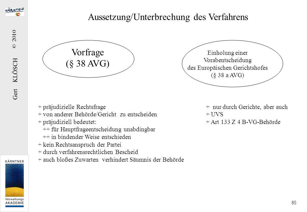 Gert KLÖSCH © 2010 85 Aussetzung/Unterbrechung des Verfahrens Vorfrage (§ 38 AVG) + präjudizielle Rechtsfrage + von anderer Behörde/Gericht zu entsche