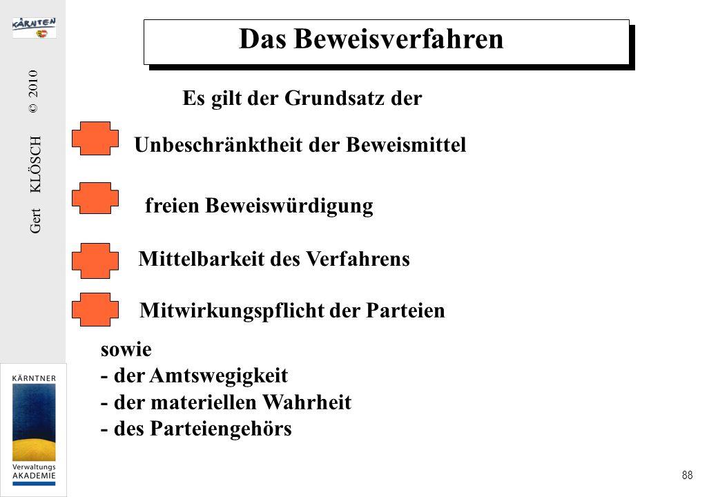 Gert KLÖSCH © 2010 88 Das Beweisverfahren Es gilt der Grundsatz der Unbeschränktheit der Beweismittel freien Beweiswürdigung Mittelbarkeit des Verfahr