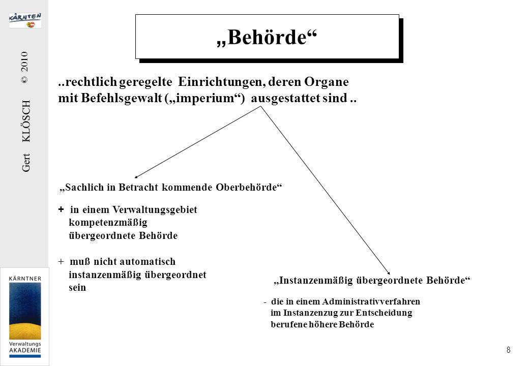 Gert KLÖSCH © 2010 8 Behörde..rechtlich geregelte Einrichtungen, deren Organe mit Befehlsgewalt (imperium) ausgestattet sind.. Sachlich in Betracht ko
