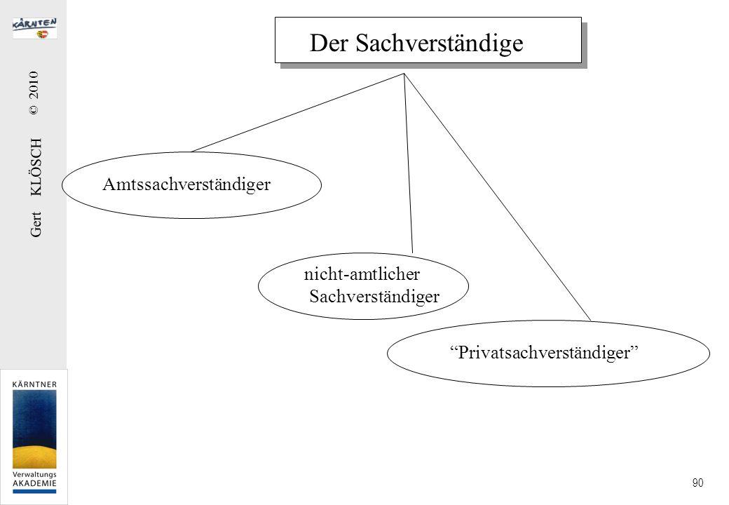 Gert KLÖSCH © 2010 90 Der Sachverständige Amtssachverständiger nicht-amtlicher Sachverständiger Privatsachverständiger