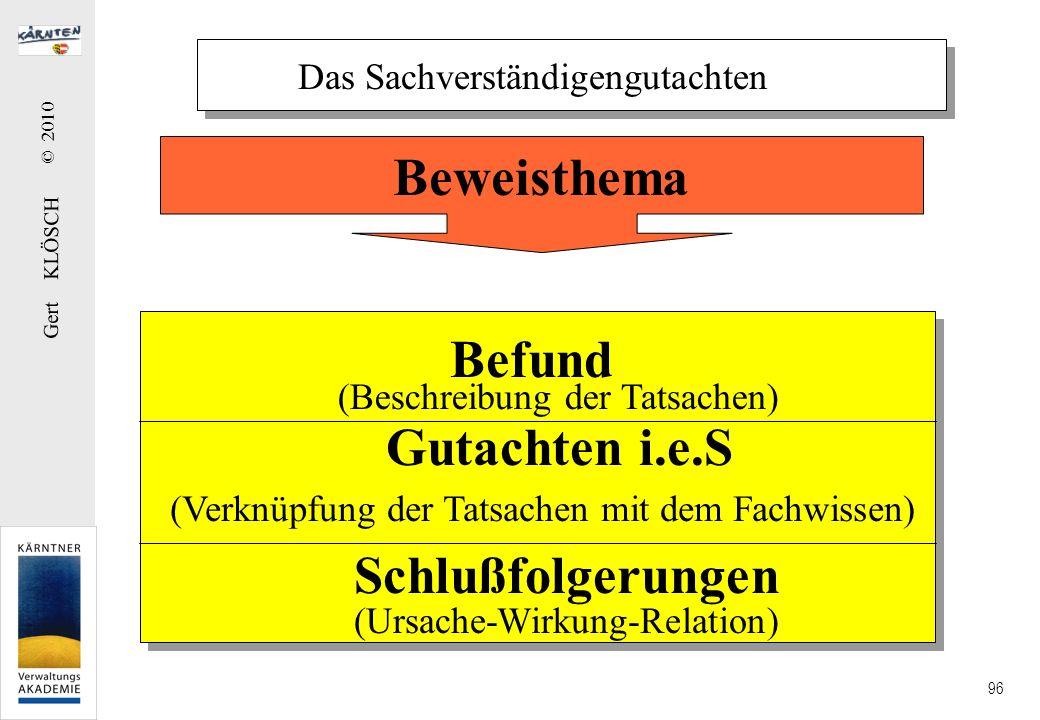 Gert KLÖSCH © 2010 96 Das Sachverständigengutachten Befund (Beschreibung der Tatsachen) Gutachten i.e.S (Verknüpfung der Tatsachen mit dem Fachwissen)