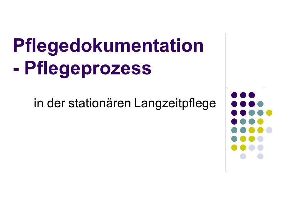 Pflegedokumentation - Pflegeprozess in der stationären Langzeitpflege