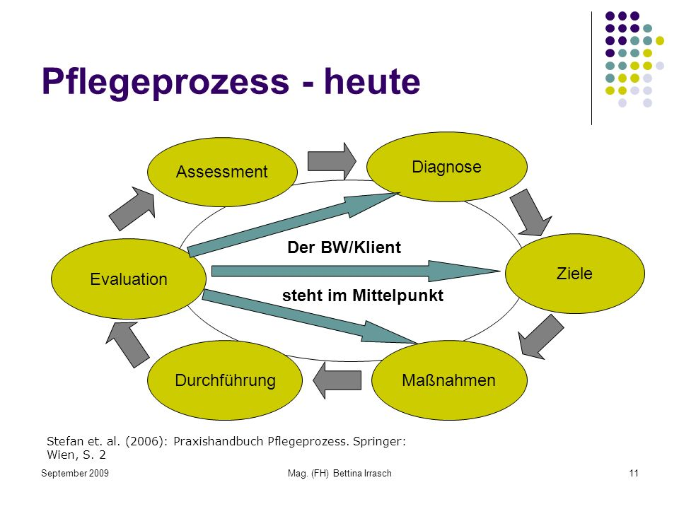 September 2009Mag. (FH) Bettina Irrasch11 Pflegeprozess - heute Assessment Diagnose Ziele MaßnahmenDurchführung Evaluation Der BW/Klient steht im Mitt