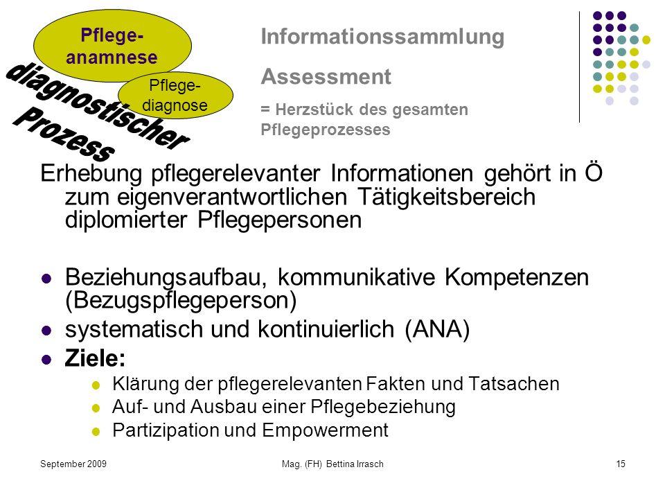 September 2009Mag. (FH) Bettina Irrasch15 Erhebung pflegerelevanter Informationen gehört in Ö zum eigenverantwortlichen Tätigkeitsbereich diplomierter