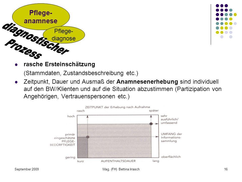 September 2009Mag. (FH) Bettina Irrasch16 rasche Ersteinschätzung (Stammdaten, Zustandsbeschreibung etc.) Zeitpunkt, Dauer und Ausmaß der Anamnesenerh