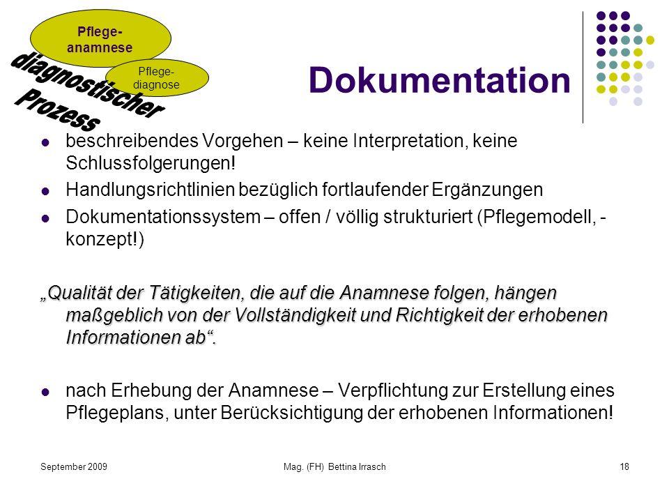 September 2009Mag. (FH) Bettina Irrasch18 Dokumentation beschreibendes Vorgehen – keine Interpretation, keine Schlussfolgerungen! Handlungsrichtlinien