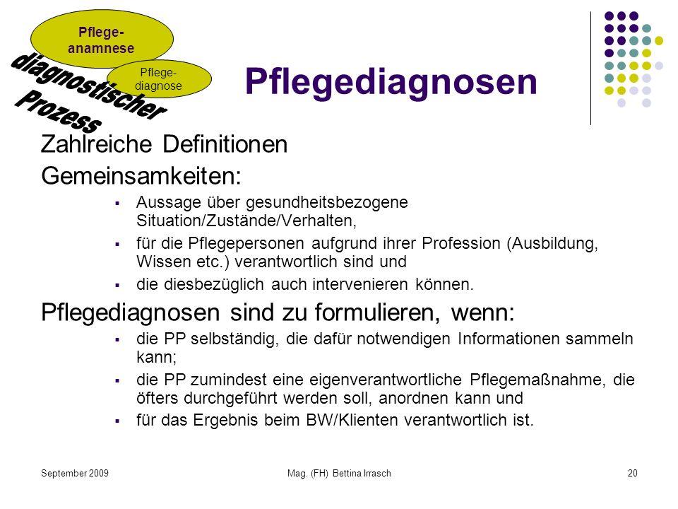 September 2009Mag. (FH) Bettina Irrasch20 Pflegediagnosen Zahlreiche Definitionen Gemeinsamkeiten: Aussage über gesundheitsbezogene Situation/Zustände
