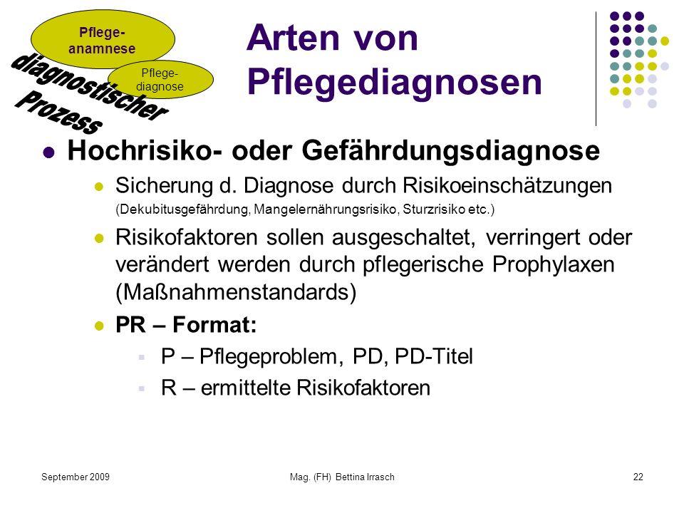 September 2009Mag. (FH) Bettina Irrasch22 Arten von Pflegediagnosen Hochrisiko- oder Gefährdungsdiagnose Sicherung d. Diagnose durch Risikoeinschätzun