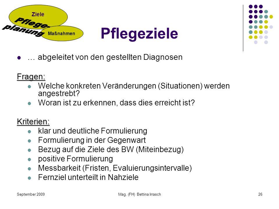 September 2009Mag. (FH) Bettina Irrasch26 Pflegeziele … abgeleitet von den gestellten DiagnosenFragen: Welche konkreten Veränderungen (Situationen) we