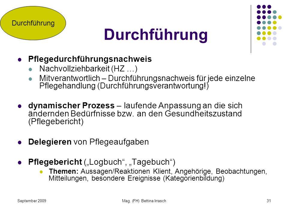 September 2009Mag. (FH) Bettina Irrasch31 Durchführung Pflegedurchführungsnachweis Nachvollziehbarkeit (HZ …) Mitverantwortlich – Durchführungsnachwei