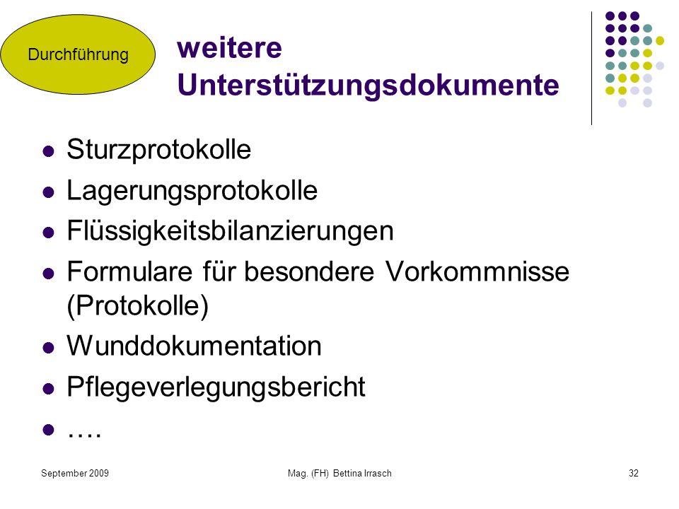 September 2009Mag. (FH) Bettina Irrasch32 weitere Unterstützungsdokumente Sturzprotokolle Lagerungsprotokolle Flüssigkeitsbilanzierungen Formulare für