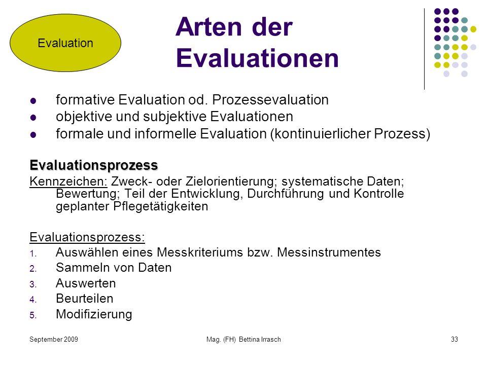 September 2009Mag. (FH) Bettina Irrasch33 Arten der Evaluationen formative Evaluation od. Prozessevaluation objektive und subjektive Evaluationen form