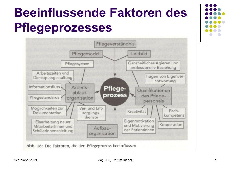 September 2009Mag. (FH) Bettina Irrasch35 Beeinflussende Faktoren des Pflegeprozesses