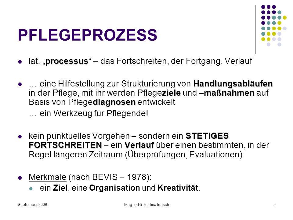 September 2009Mag. (FH) Bettina Irrasch5 PFLEGEPROZESS processus lat. processus – das Fortschreiten, der Fortgang, Verlauf Handlungsabläufen zielemaßn