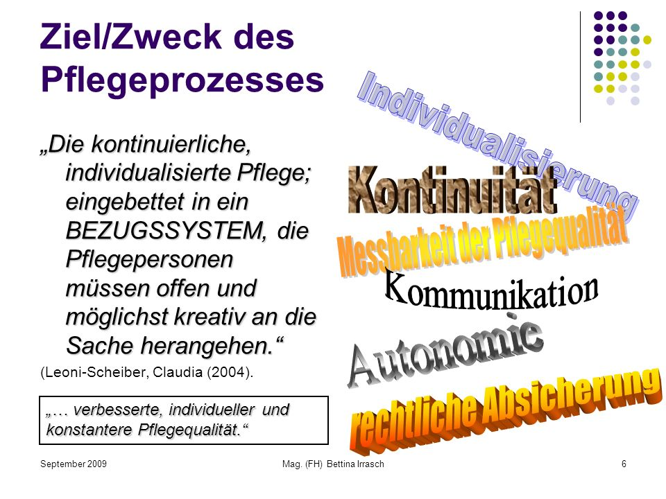 September 2009Mag. (FH) Bettina Irrasch6 Ziel/Zweck des Pflegeprozesses Die kontinuierliche, individualisierte Pflege; eingebettet in ein BEZUGSSYSTEM