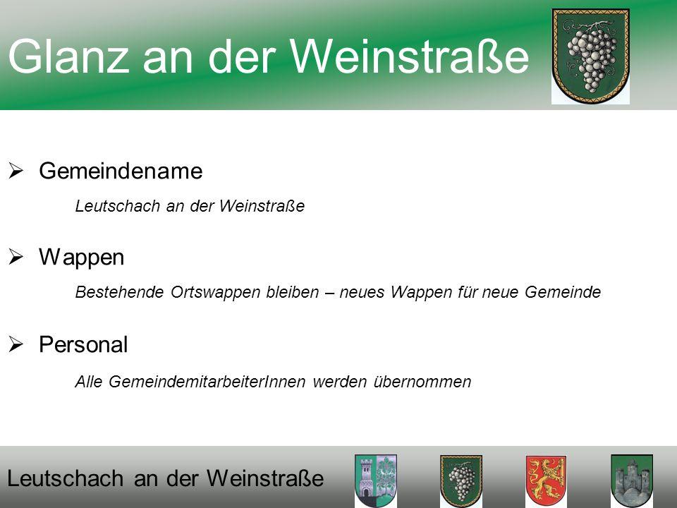 Gemeindename Leutschach an der Weinstraße Wappen Bestehende Ortswappen bleiben – neues Wappen für neue Gemeinde Personal Alle GemeindemitarbeiterInnen werden übernommen Glanz an der Weinstraße Leutschach an der Weinstraße