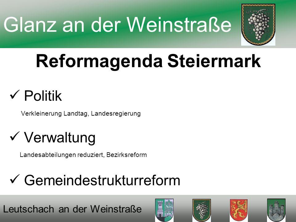 Reformagenda Steiermark Politik Verkleinerung Landtag, Landesregierung Verwaltung Landesabteilungen reduziert, Bezirksreform Gemeindestrukturreform Glanz an der Weinstraße Leutschach an der Weinstraße