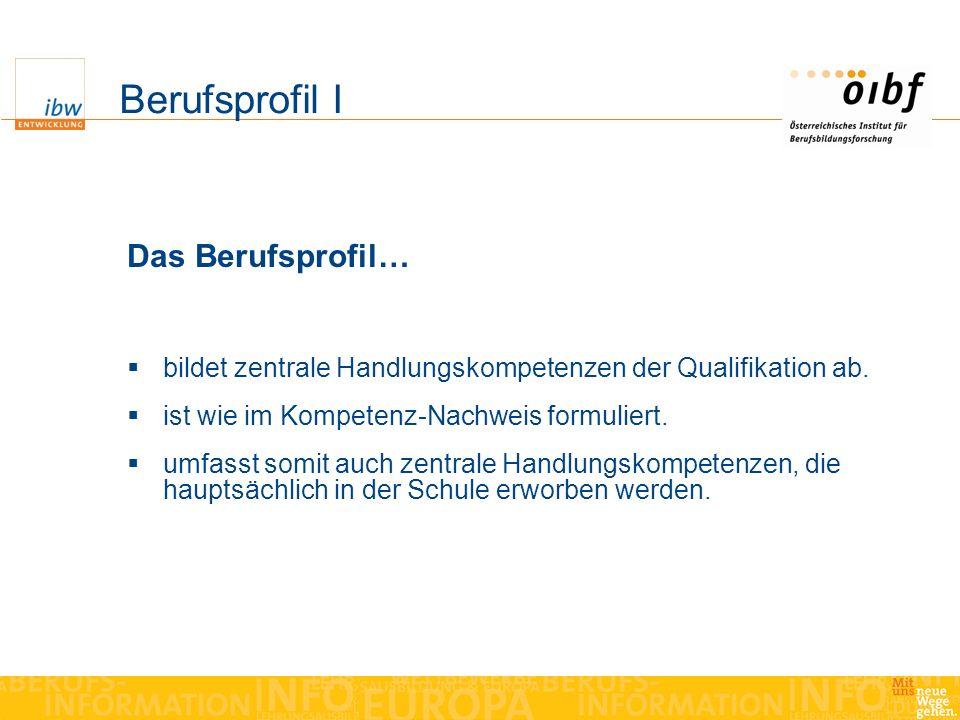 Berufsprofil I Das Berufsprofil… bildet zentrale Handlungskompetenzen der Qualifikation ab.
