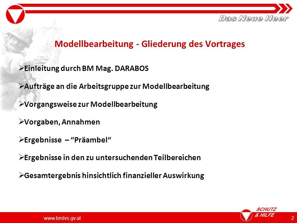 www.bmlvs.gv.at 23 Ergebnis zum Personalaufwand Modell 3 vorgesehene Personalstärken in der Zielstruktur ca.