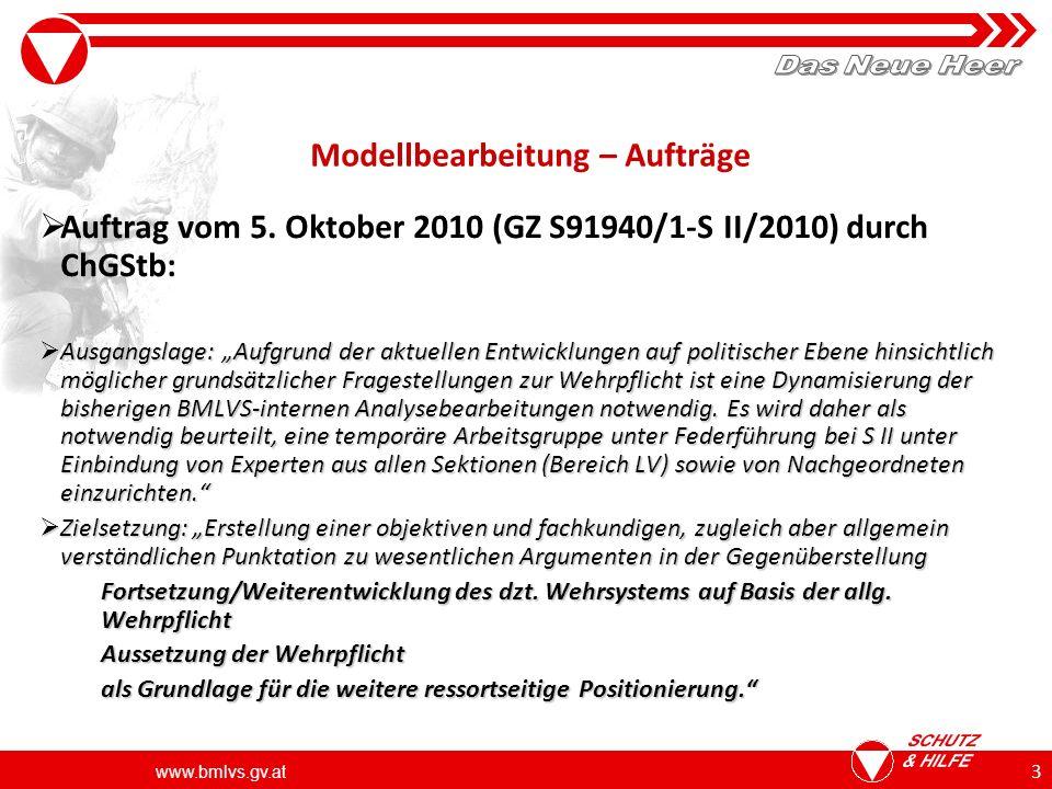www.bmlvs.gv.at 4 Modellbearbeitung – Aufträge zur Umsetzung der Vorgaben HBM Umsetzung des Auftrages HBM an ChGStb am 11.