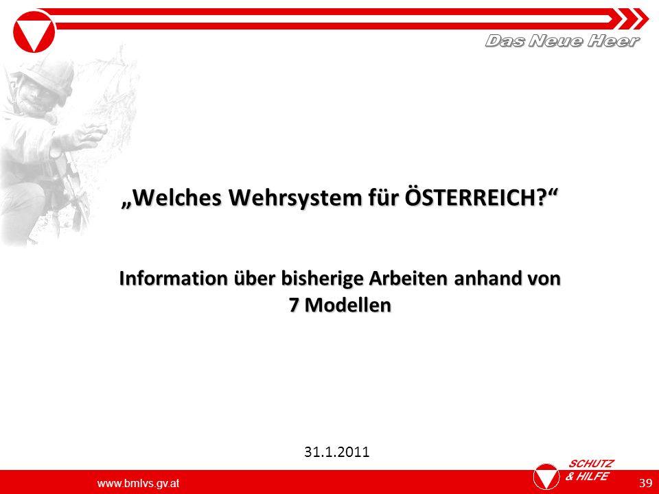 www.bmlvs.gv.at 39 Welches Wehrsystem für ÖSTERREICH.