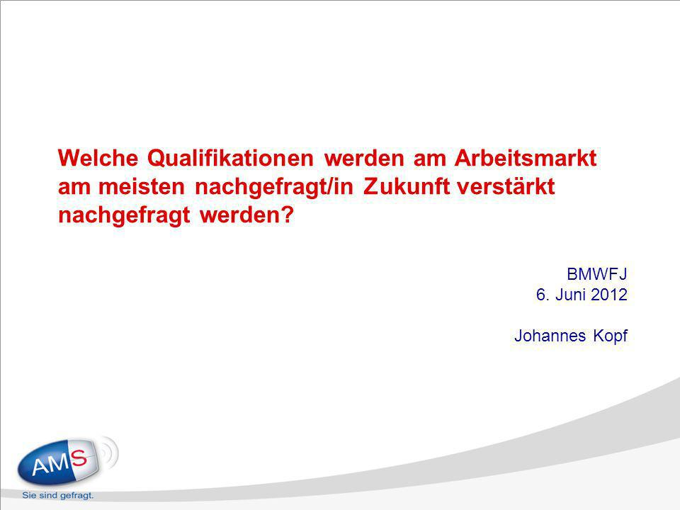 Welche Qualifikationen werden am Arbeitsmarkt am meisten nachgefragt/in Zukunft verstärkt nachgefragt werden? BMWFJ 6. Juni 2012 Johannes Kopf