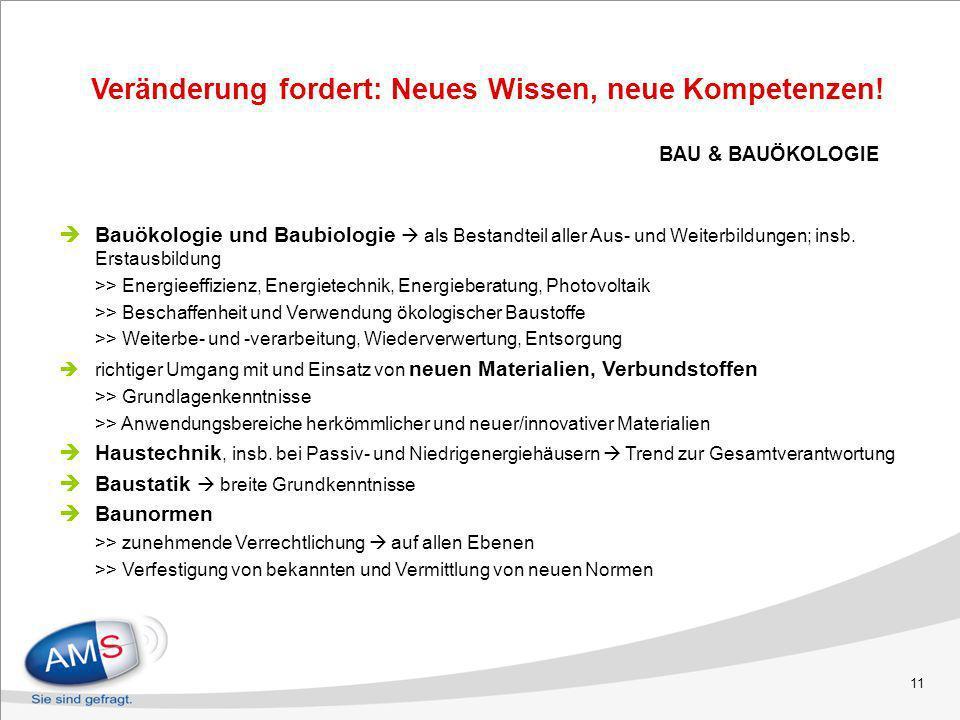 11 BAU & BAUÖKOLOGIE Bauökologie und Baubiologie als Bestandteil aller Aus- und Weiterbildungen; insb. Erstausbildung >> Energieeffizienz, Energietech