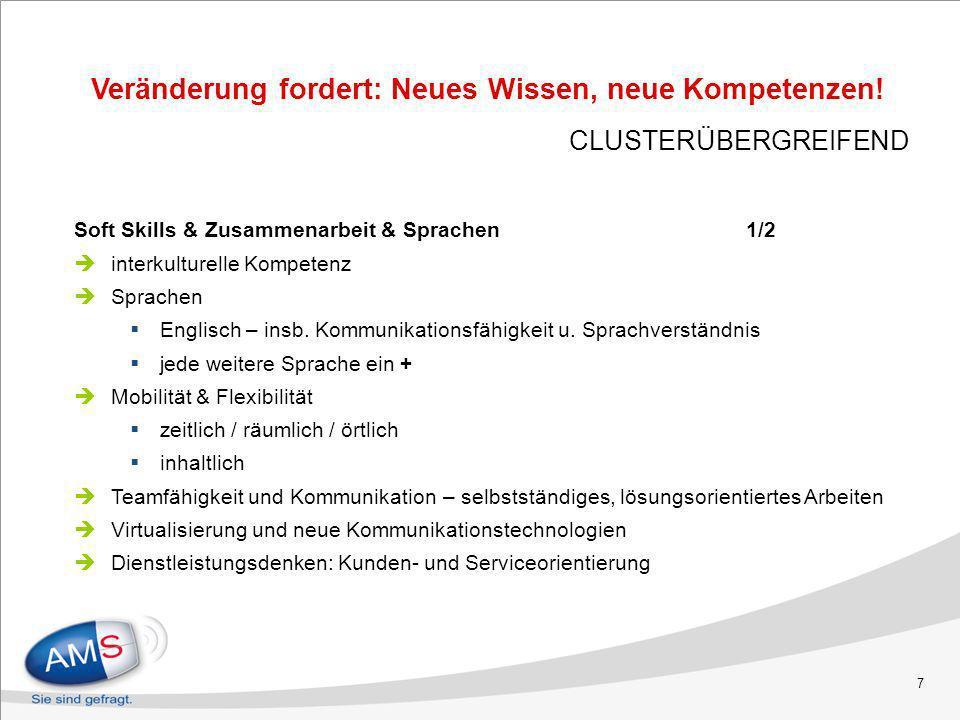 7 Soft Skills & Zusammenarbeit & Sprachen 1/2 interkulturelle Kompetenz Sprachen Englisch – insb. Kommunikationsfähigkeit u. Sprachverständnis jede we