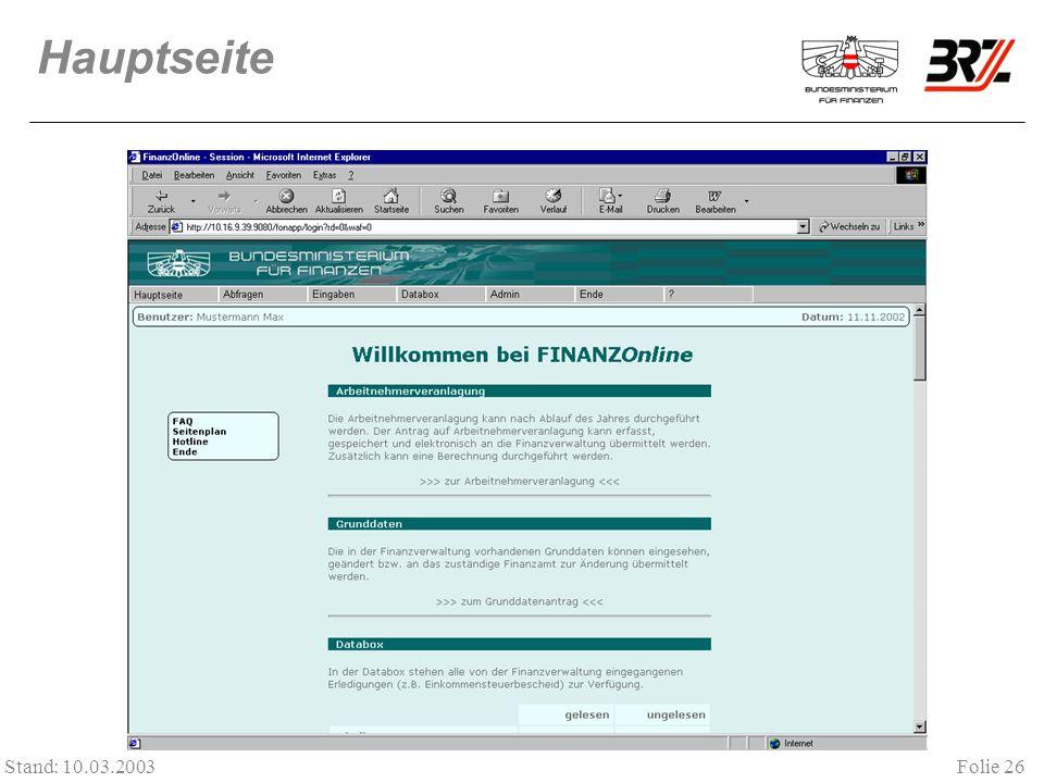 Folie 26 Stand: 10.03.2003 Hauptseite