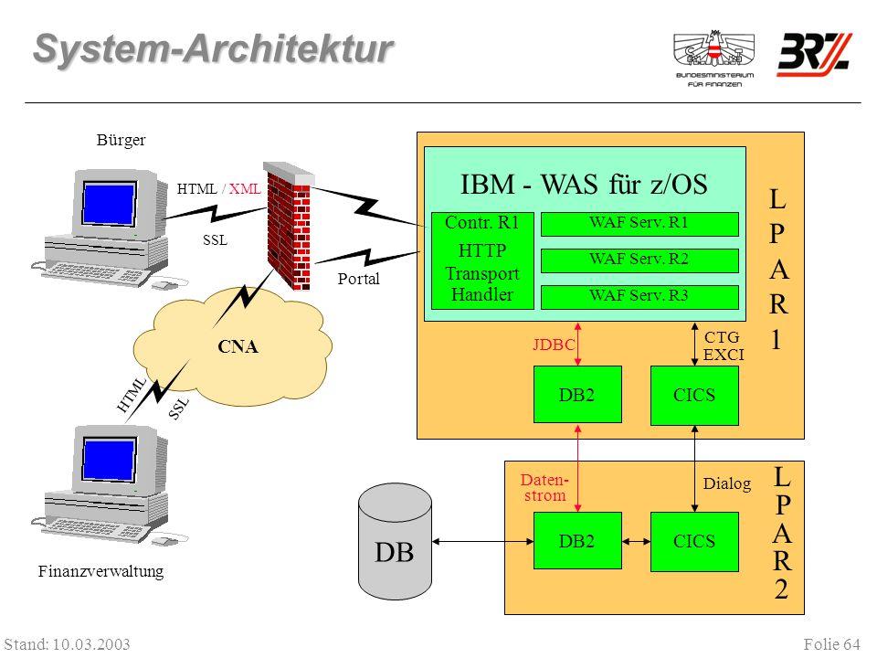 Folie 64 Stand: 10.03.2003 System-Architektur DB2CICS IBM - WAS für z/OS LPAR1LPAR1 Contr. R1 HTTP Transport Handler WAF Serv. R1 LPAR2LPAR2 DB JDBC C