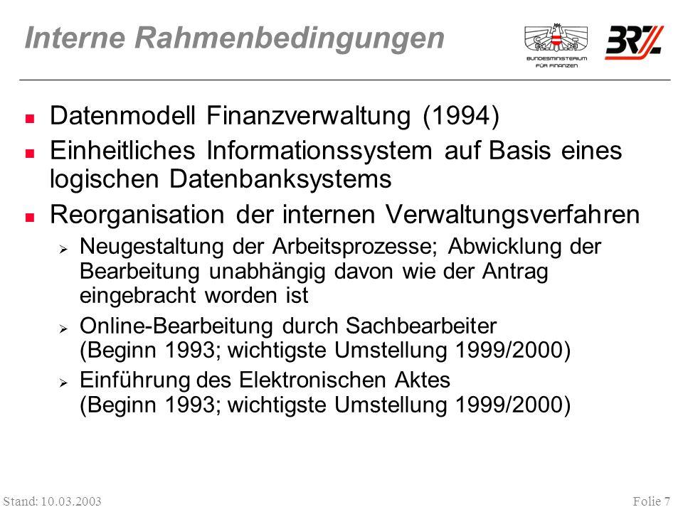 Folie 7 Stand: 10.03.2003 Interne Rahmenbedingungen Datenmodell Finanzverwaltung (1994) Einheitliches Informationssystem auf Basis eines logischen Datenbanksystems Reorganisation der internen Verwaltungsverfahren Neugestaltung der Arbeitsprozesse; Abwicklung der Bearbeitung unabhängig davon wie der Antrag eingebracht worden ist Online-Bearbeitung durch Sachbearbeiter (Beginn 1993; wichtigste Umstellung 1999/2000) Einführung des Elektronischen Aktes (Beginn 1993; wichtigste Umstellung 1999/2000)