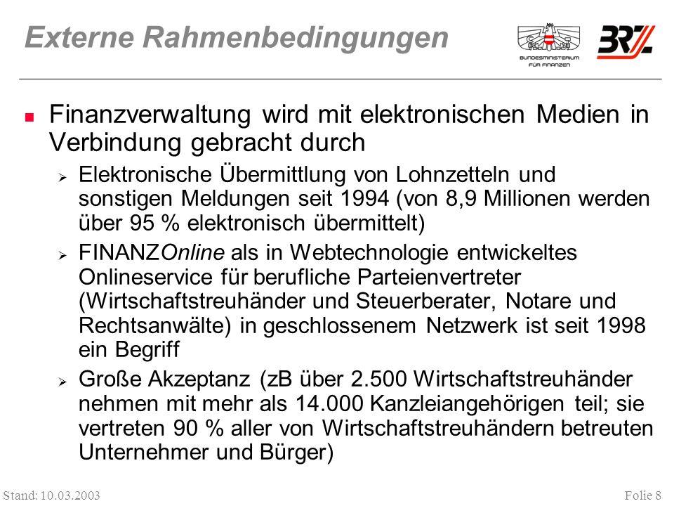 Folie 8 Stand: 10.03.2003 Externe Rahmenbedingungen Finanzverwaltung wird mit elektronischen Medien in Verbindung gebracht durch Elektronische Übermit