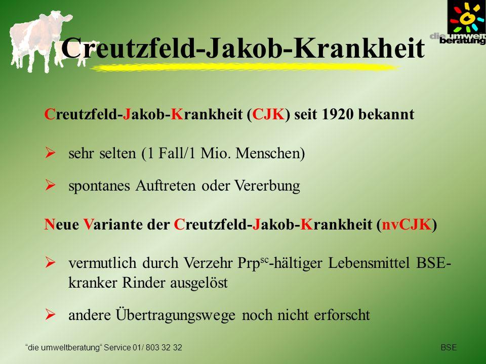 BSEdie umweltberatung Service 01/ 803 32 32 Creutzfeld-Jakob-Krankheit Creutzfeld-Jakob-Krankheit (CJK) seit 1920 bekannt sehr selten (1 Fall/1 Mio. M