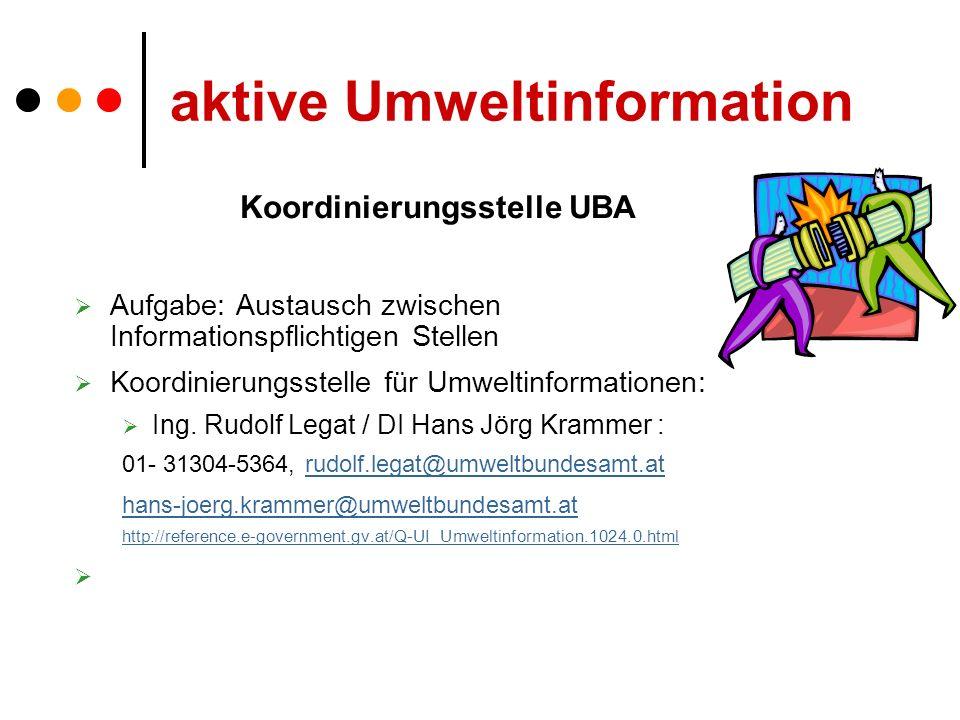 aktive Umweltinformation Koordinierungsstelle UBA Aufgabe: Austausch zwischen Informationspflichtigen Stellen Koordinierungsstelle für Umweltinformationen: Ing.