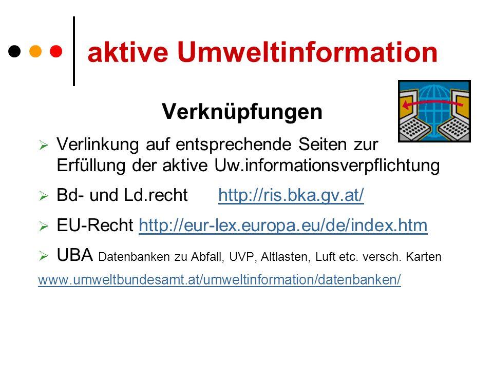 aktive Umweltinformation Verknüpfungen Verlinkung auf entsprechende Seiten zur Erfüllung der aktive Uw.informationsverpflichtung Bd- und Ld.recht http://ris.bka.gv.at/http://ris.bka.gv.at/ EU-Recht http://eur-lex.europa.eu/de/index.htmhttp://eur-lex.europa.eu/de/index.htm UBA Datenbanken zu Abfall, UVP, Altlasten, Luft etc.