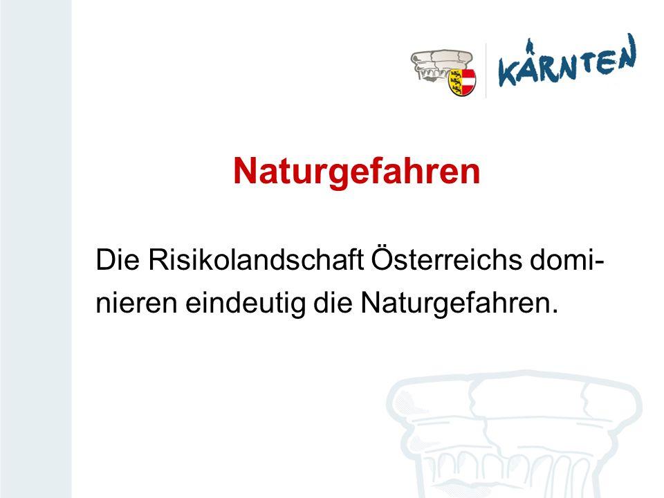 Naturgefahren Die Risikolandschaft Österreichs domi- nieren eindeutig die Naturgefahren.