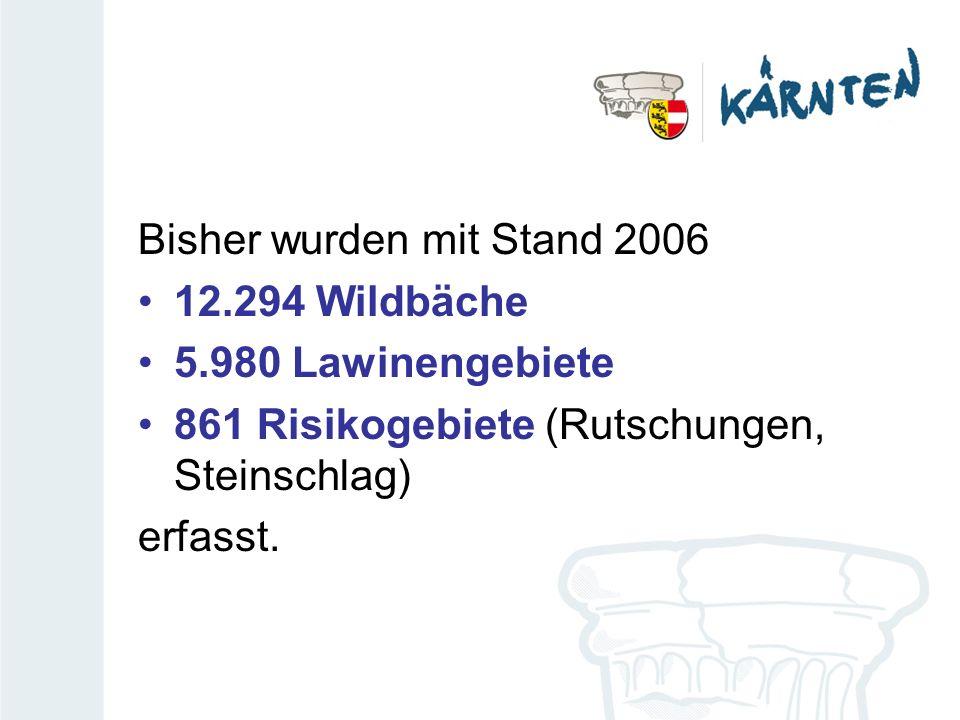 Bisher wurden mit Stand 2006 12.294 Wildbäche 5.980 Lawinengebiete 861 Risikogebiete (Rutschungen, Steinschlag) erfasst.