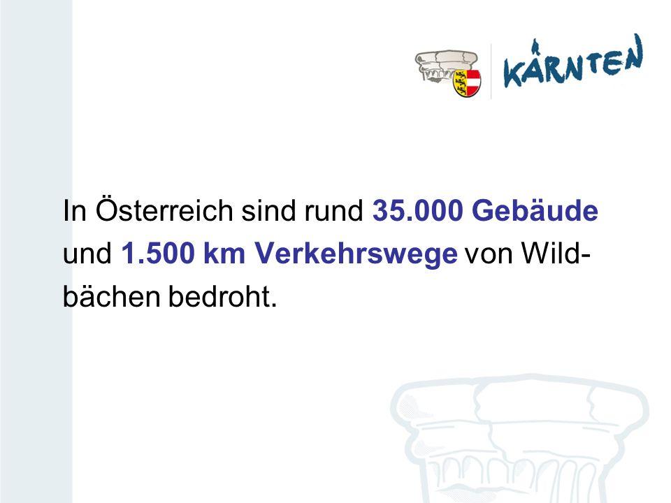 In Österreich sind rund 35.000 Gebäude und 1.500 km Verkehrswege von Wild- bächen bedroht.